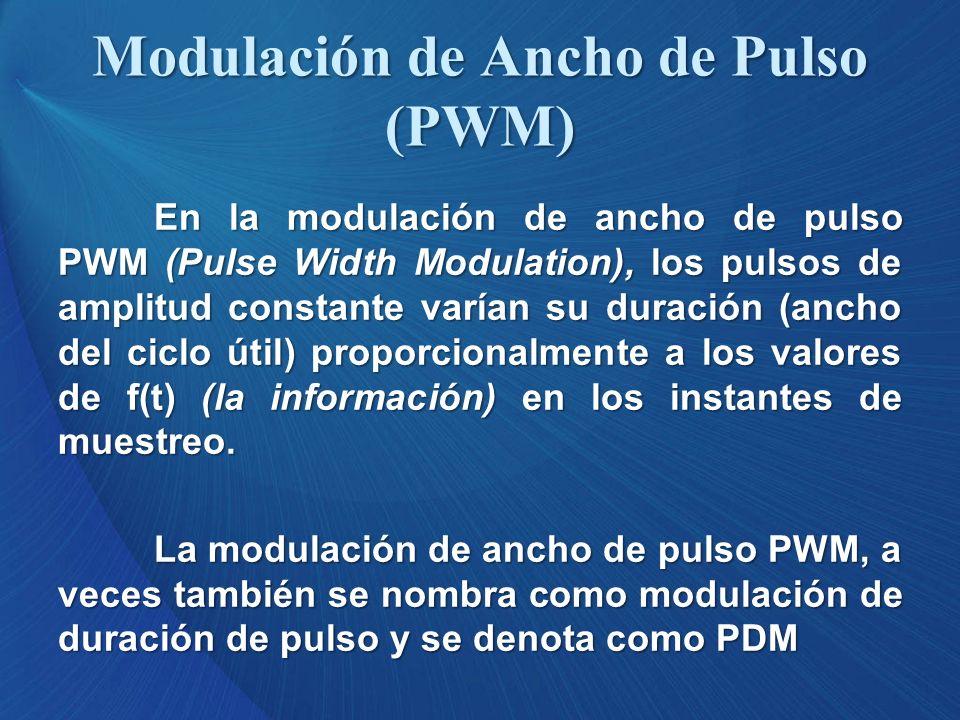 Modulación de Ancho de Pulso (PWM) En la modulación de ancho de pulso PWM (Pulse Width Modulation), los pulsos de amplitud constante varían su duració