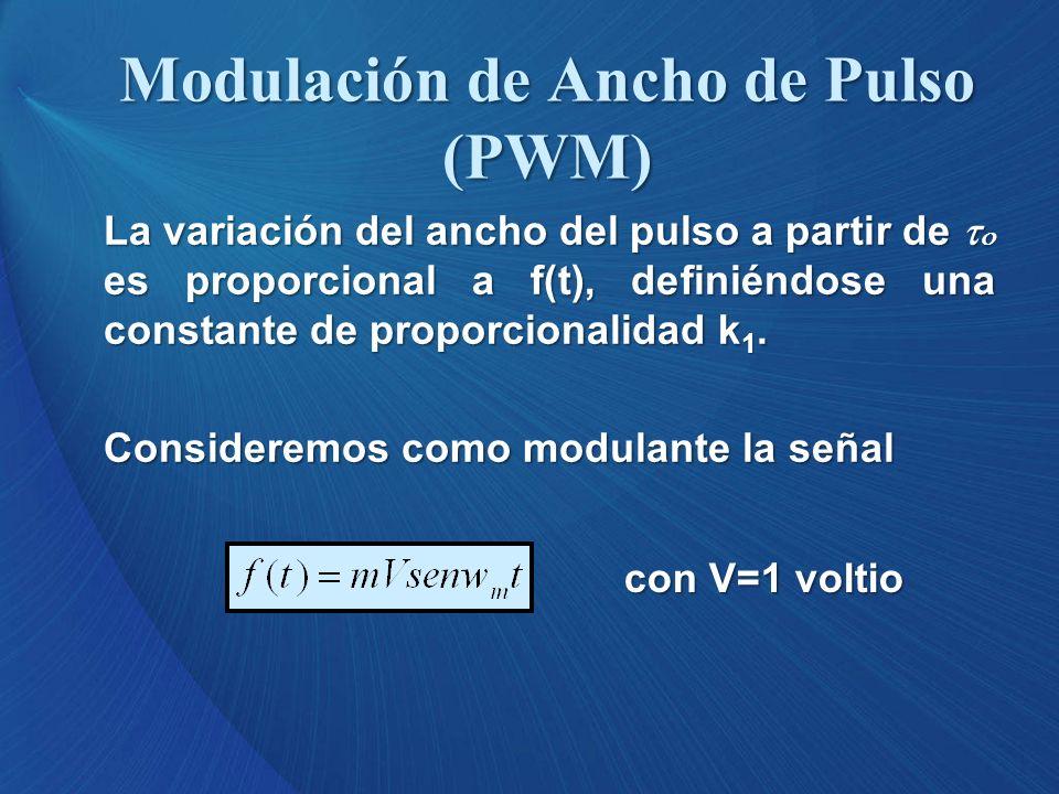 La variación del ancho del pulso a partir de es proporcional a f(t), definiéndose una constante de proporcionalidad k 1. Consideremos como modulante l