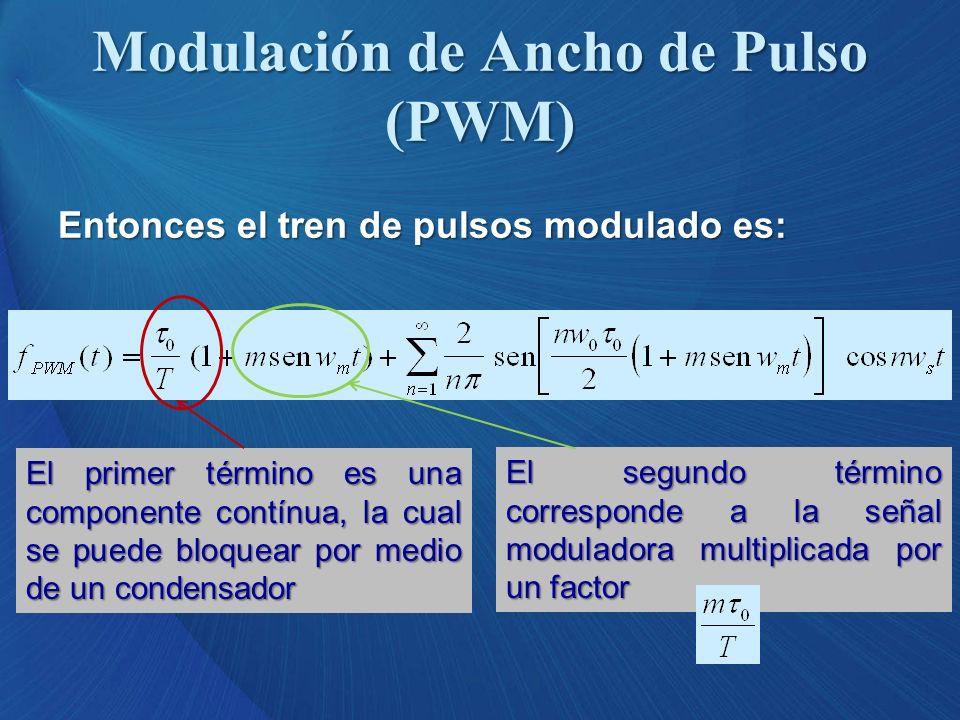 Entonces el tren de pulsos modulado es: El primer término es una componente contínua, la cual se puede bloquear por medio de un condensador El segundo