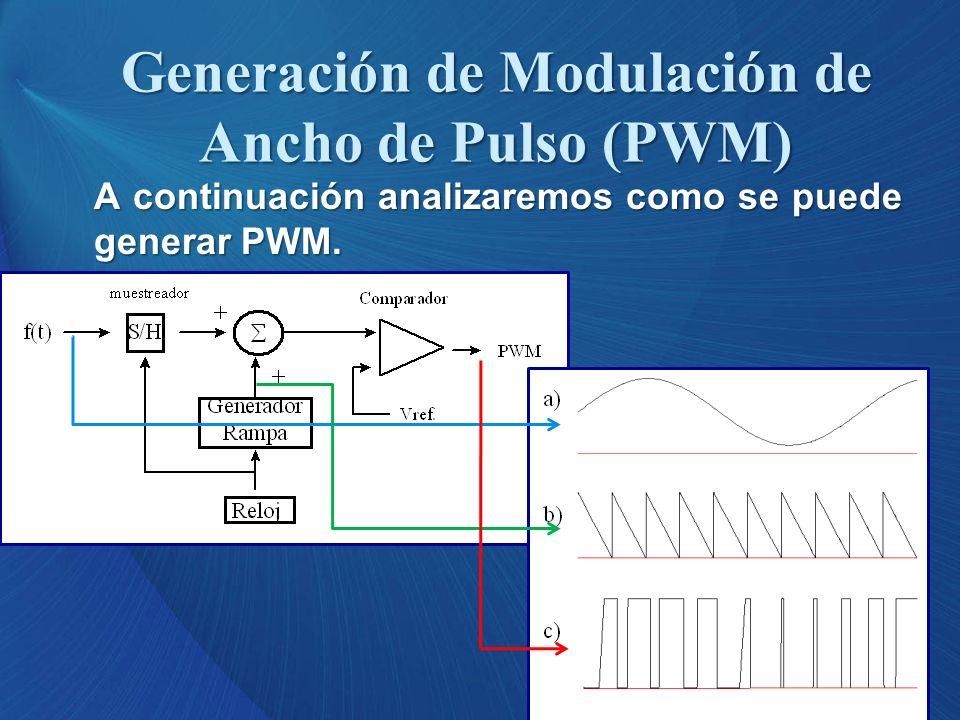 A continuación analizaremos como se puede generar PWM. Generación de Modulación de Ancho de Pulso (PWM)