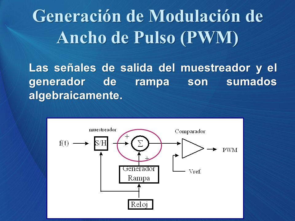 Las señales de salida del muestreador y el generador de rampa son sumados algebraicamente. Generación de Modulación de Ancho de Pulso (PWM)