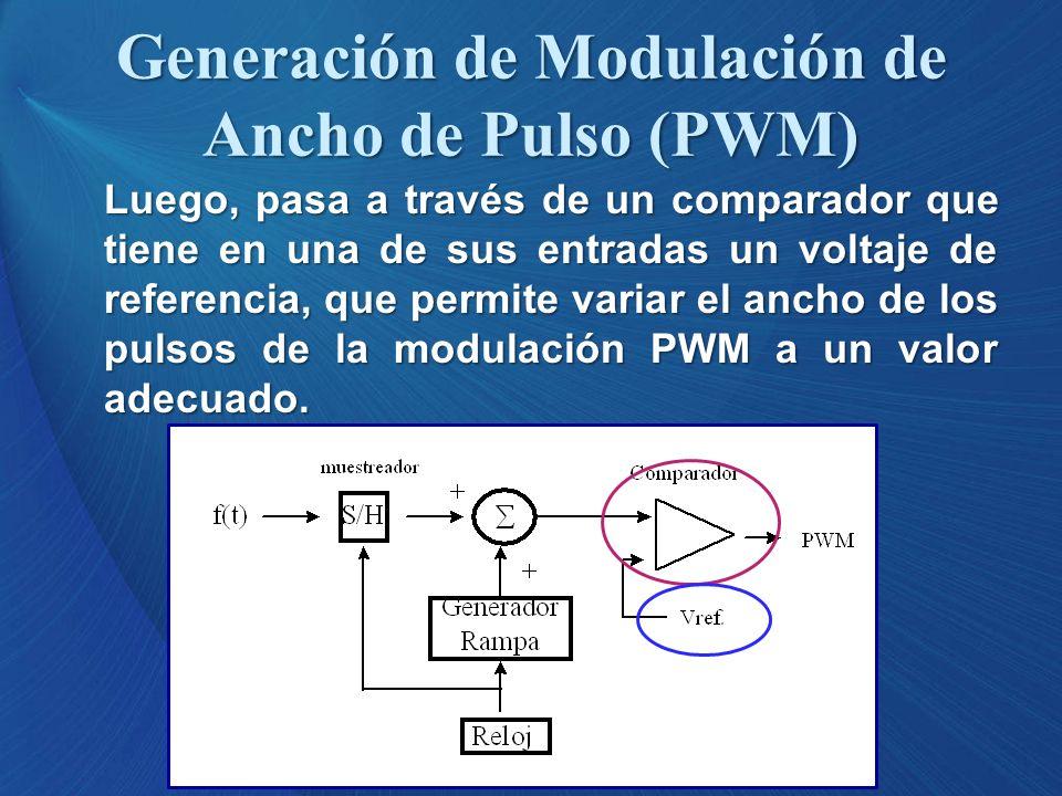 Luego, pasa a través de un comparador que tiene en una de sus entradas un voltaje de referencia, que permite variar el ancho de los pulsos de la modul