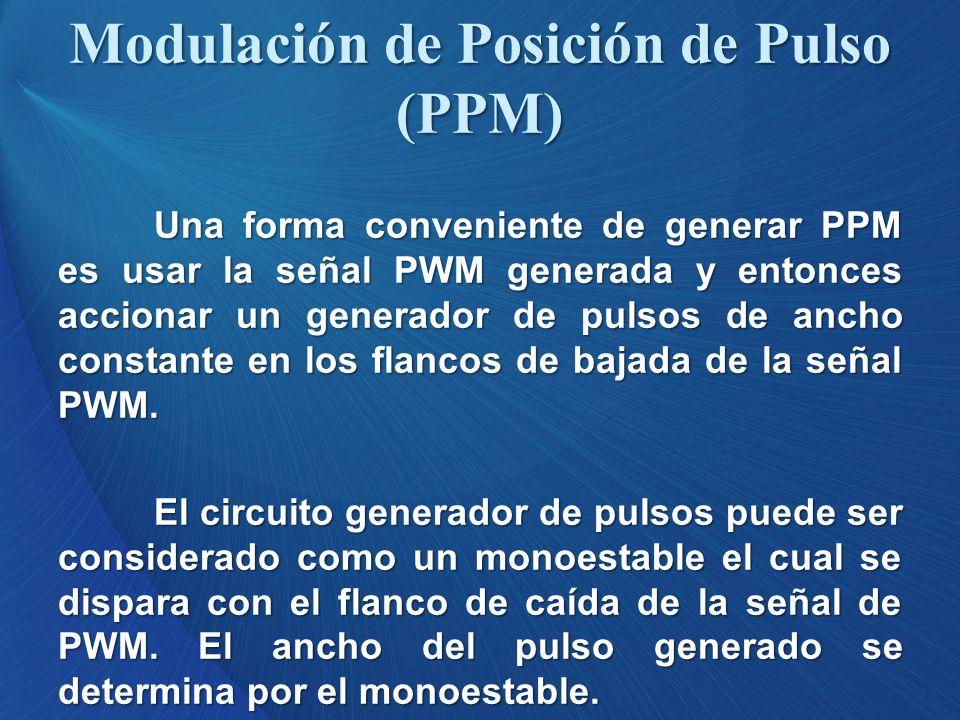 Una forma conveniente de generar PPM es usar la señal PWM generada y entonces accionar un generador de pulsos de ancho constante en los flancos de baj
