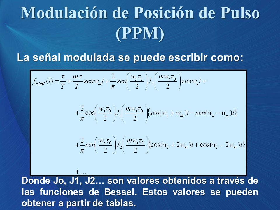 La señal modulada se puede escribir como: Donde Jo, J1, J2… son valores obtenidos a través de las funciones de Bessel. Estos valores se pueden obtener