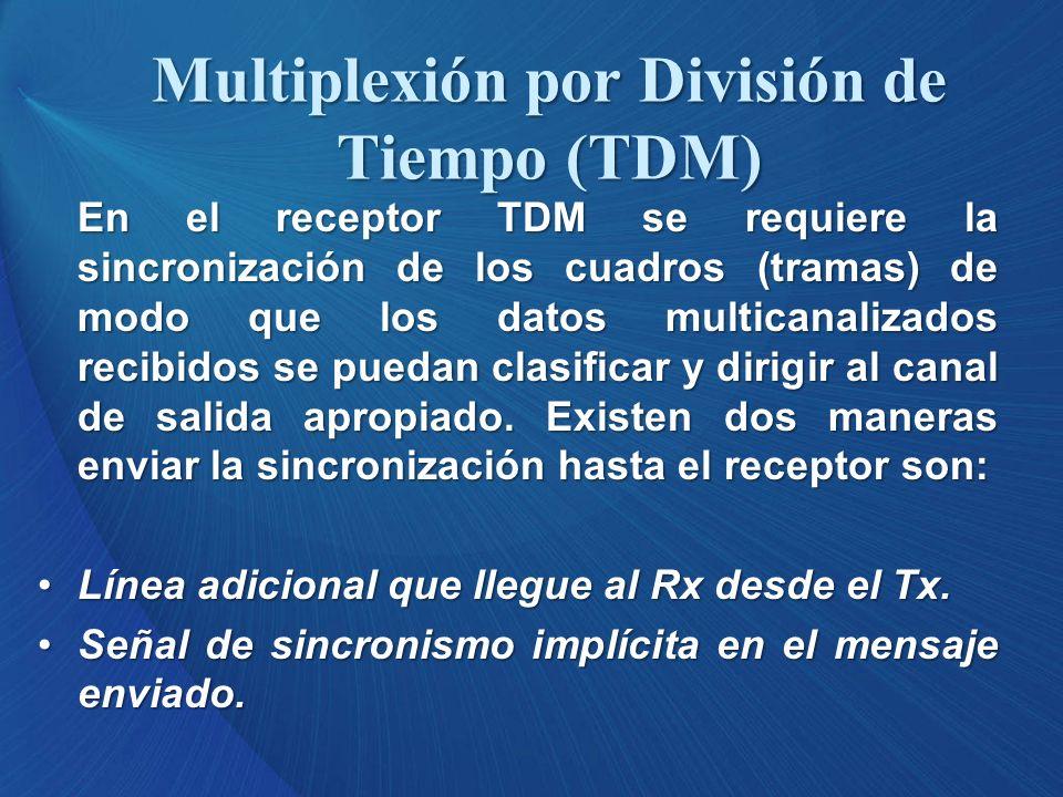 En el receptor TDM se requiere la sincronización de los cuadros (tramas) de modo que los datos multicanalizados recibidos se puedan clasificar y dirig