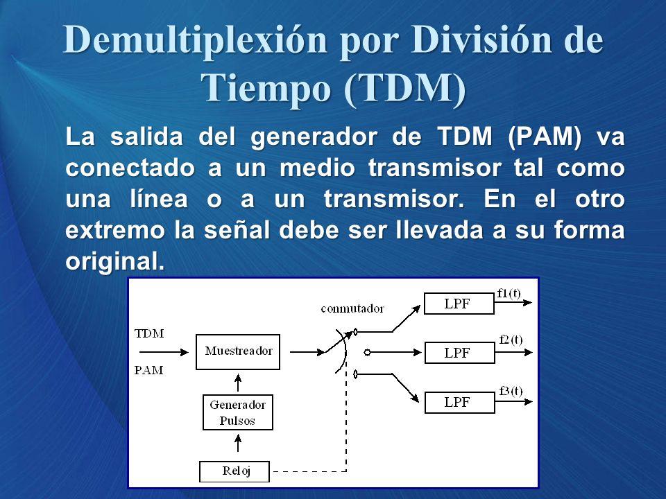La salida del generador de TDM (PAM) va conectado a un medio transmisor tal como una línea o a un transmisor. En el otro extremo la señal debe ser lle