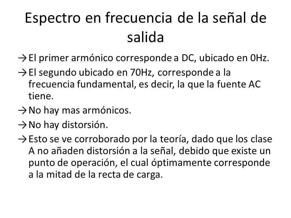 Espectro en frecuencia de la señal de salida El primer armónico corresponde a DC, ubicado en 0Hz. El segundo ubicado en 70Hz, corresponde a la frecuen
