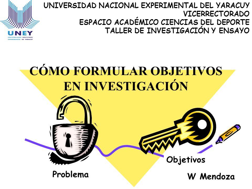UNIVERSIDAD NACIONAL EXPERIMENTAL DEL YARACUY VICERRECTORADO ESPACIO ACADÉMICO CIENCIAS DEL DEPORTE TALLER DE INVESTIGACIÓN Y ENSAYO CÓMO FORMULAR OBJ