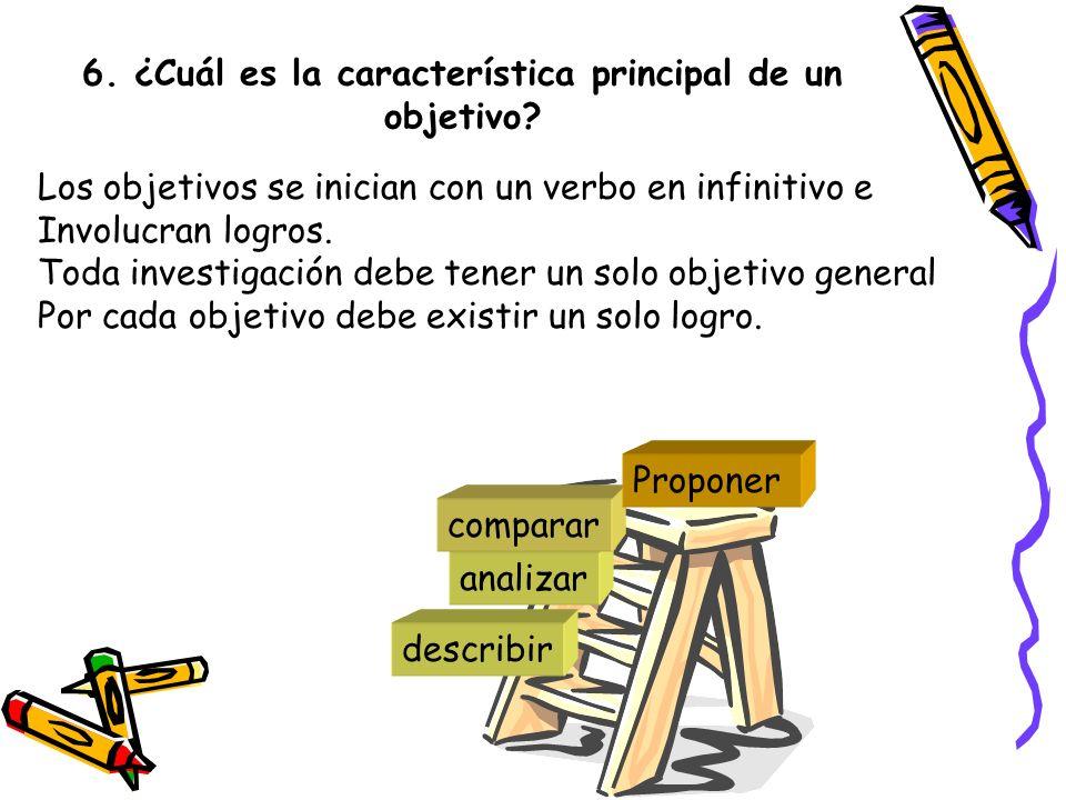 6. ¿Cuál es la característica principal de un objetivo? Los objetivos se inician con un verbo en infinitivo e Involucran logros. Toda investigación de