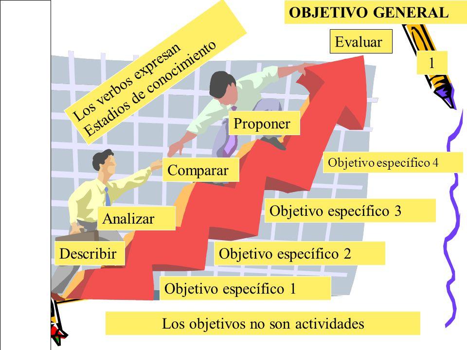 OBJETIVO GENERAL 1 Objetivo específico 1 Objetivo específico 4 Objetivo específico 2 Objetivo específico 3 Los verbos expresan Estadios de conocimient