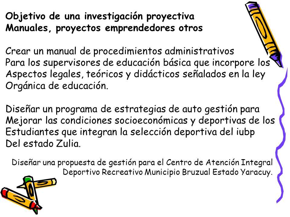 Objetivo de una investigación proyectiva Manuales, proyectos emprendedores otros Crear un manual de procedimientos administrativos Para los supervisor