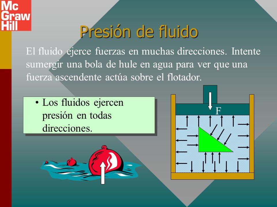 Presión de fluido Un líquido o gas no puede soportar un esfuerzo de corte, sólo se restringe por su frontera. Por tanto, ejercerá una fuerza contra y