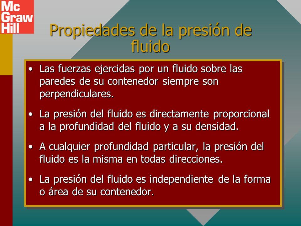 Independencia de forma y área El agua busca su propio nivel, lo que indica que la presión del fluido es independiente del área y de la forma de su con
