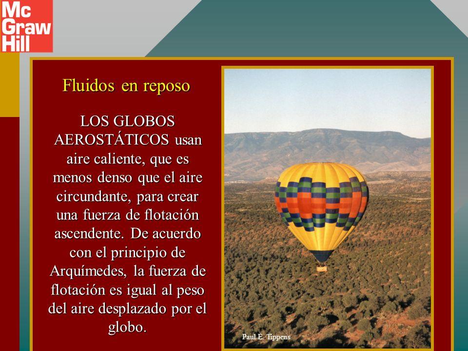 LOS GLOBOS AEROSTÁTICOS usan aire caliente, que es menos denso que el aire circundante, para crear una fuerza de flotación ascendente.