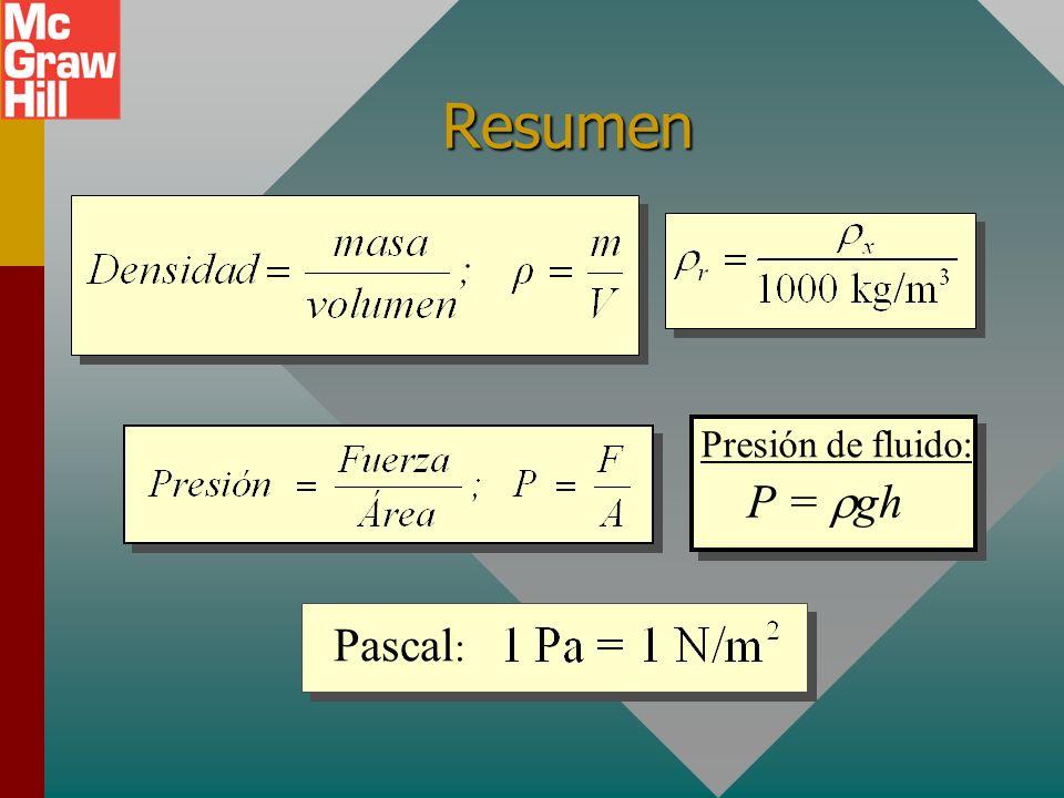 Estrategia para problemas (Cont.) 6.Para un objeto que flota, F B es igual al peso del objeto; es decir, el peso del objeto es igual al peso del fluid