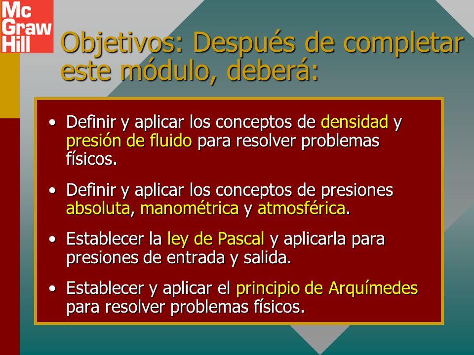 Objetivos: Después de completar este módulo, deberá: Definir y aplicar los conceptos de densidad y presión de fluido para resolver problemas físicos.Definir y aplicar los conceptos de densidad y presión de fluido para resolver problemas físicos.