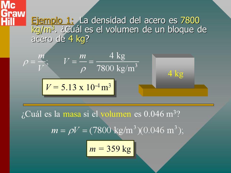 Ejemplo 1: La densidad del acero es 7800 kg/m 3.¿Cuál es el volumen de un bloque de acero de 4 kg.
