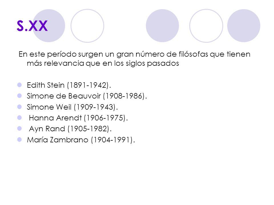 S.XX En este período surgen un gran número de filósofas que tienen más relevancia que en los siglos pasados Edith Stein (1891-1942). Simone de Beauvoi