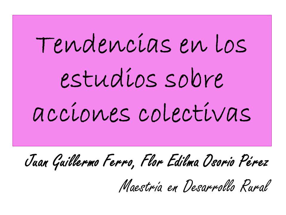 Tendencias en los estudios sobre acciones colectivas Juan Guillermo Ferro, Flor Edilma Osorio Pérez Maestría en Desarrollo Rural