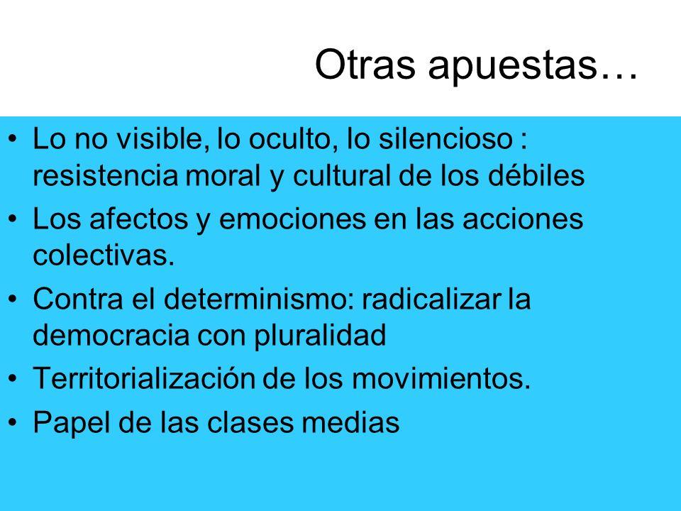 Otras apuestas… Lo no visible, lo oculto, lo silencioso : resistencia moral y cultural de los débiles Los afectos y emociones en las acciones colectiv