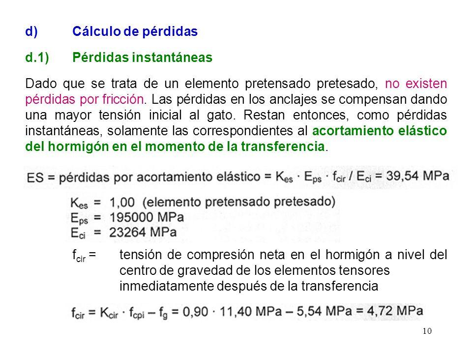 10 d) Cálculo de pérdidas d.1) Pérdidas instantáneas Dado que se trata de un elemento pretensado pretesado, no existen pérdidas por fricción. Las pérd