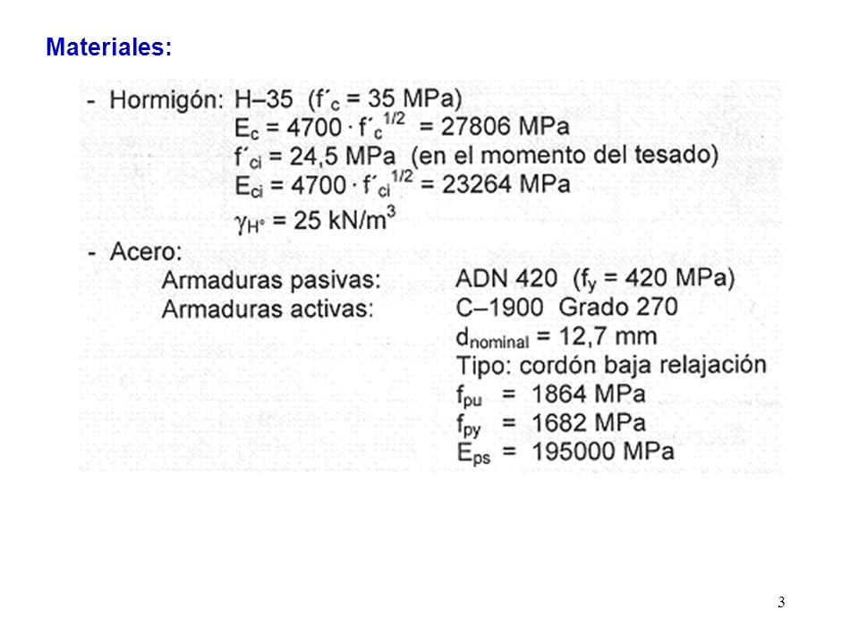 24 g)Verificación de cuantía mínima La condición a verificar es: El momento de fisuración es aquel que luego de descomprimir la fibra inferior produce en ella una tracción igual a f t siendo: f t = 0,7 · f c 1/2 Al verificar las tensiones en el hormigón se vio que el pretensado efectivo producía en la fibra inferior una tensión total igual a: 3,59 MPa + 12,43 MPa = 16,02 MPa por lo que el momento de fisuración deberá producir una tracción igual a: 16,02 MPa + 4,14 MPa = 20,16 MPa