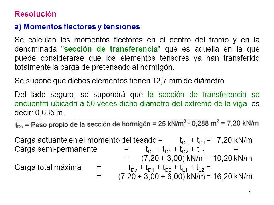 16 Si se supone que en el momento de la transferencia se ha producido un cuarto de las pérdidas por relajación, la tensión en dicho momento luego de producida la transferencia (deformación elástica) será: 1448,8 MPa - 30,73 MPa / 4 - 39,54 MPa = 1401,6 MPa La tensión anterior resulta alrededor de un 1,6% superior a la tensión admisible obtenida anteriormente cuyo valor es de 1379 MPa.