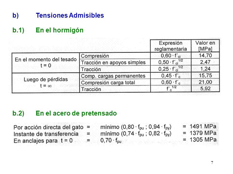 8 c) Cálculo de la fuerza de pretensado La fuerza de tesado se dimensiona de modo de que para carga total la tensión en la fibra inferior no supere la tensión de tracción admisible en el centro del tramo (5,92 MPa).