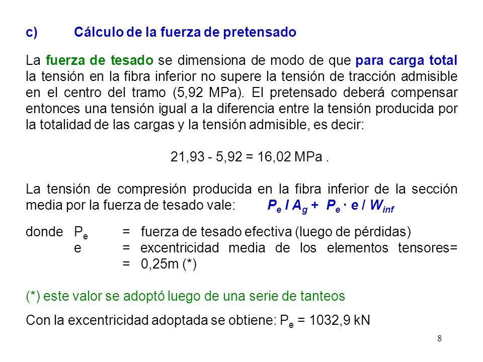 8 c) Cálculo de la fuerza de pretensado La fuerza de tesado se dimensiona de modo de que para carga total la tensión en la fibra inferior no supere la