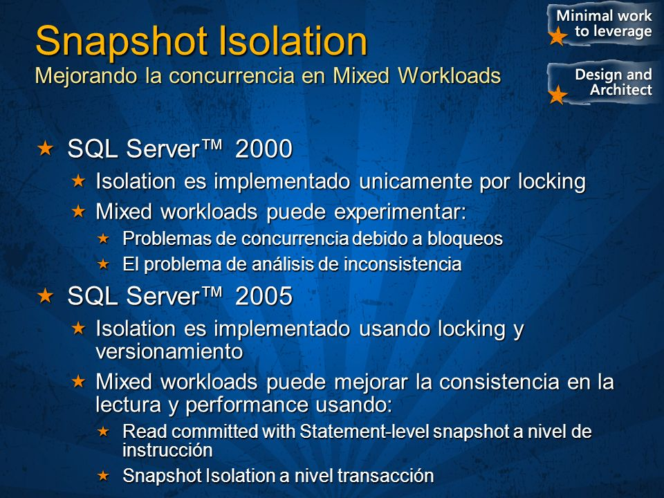 Snapshot Isolation Mejorando la concurrencia en Mixed Workloads SQL Server 2000 SQL Server 2000 Isolation es implementado unicamente por locking Isola