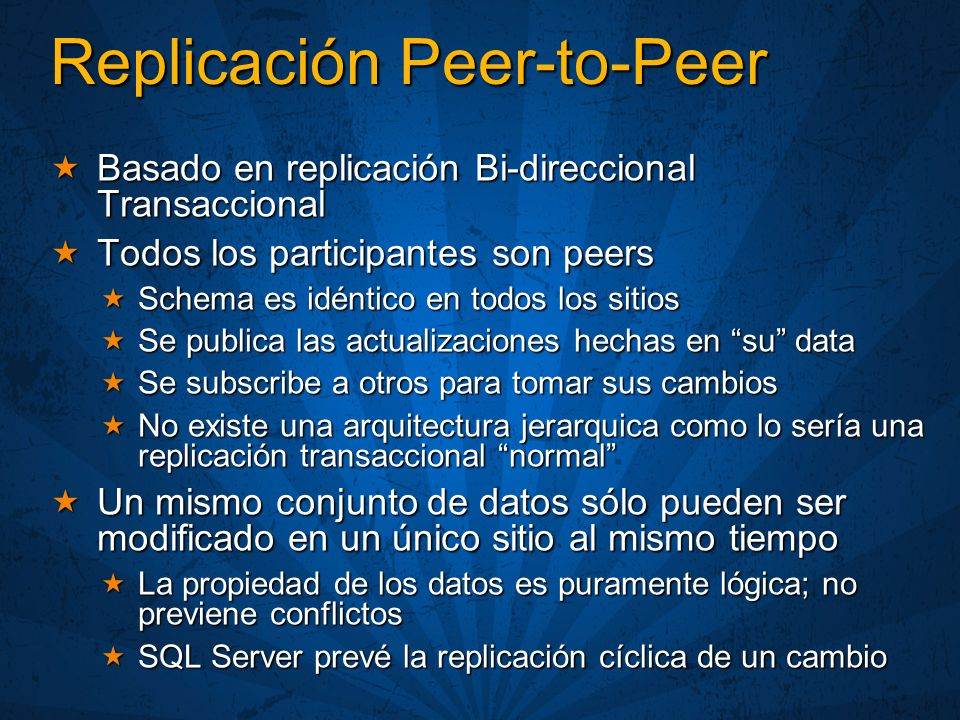 Replicación Peer-to-Peer Basado en replicación Bi-direccional Transaccional Basado en replicación Bi-direccional Transaccional Todos los participantes