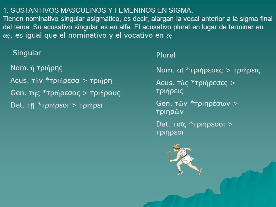 1. SUSTANTIVOS MASCULINOS Y FEMENINOS EN SIGMA. Tienen nominativo singular asigmático, es decir, alargan la vocal anterior a la sigma final del tema.