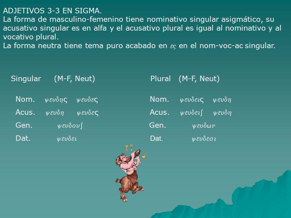 ADJETIVOS 3-3 EN SIGMA. La forma de masculino-femenino tiene nominativo singular asigmático, su acusativo singular es en alfa y el acusativo plural es