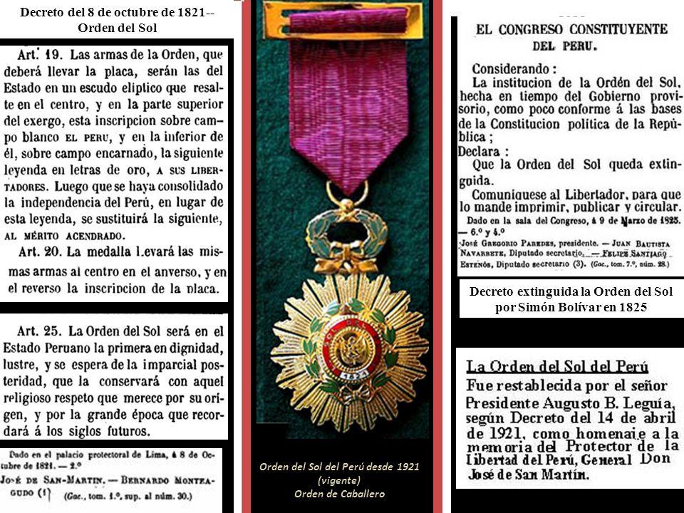 Bandera y escudo de 1821-22 Condecoración restaurada del libro de Pedro Ugarteche- edit.1966 Orden de Benemérito La primera bandera y el Escudo de Arm