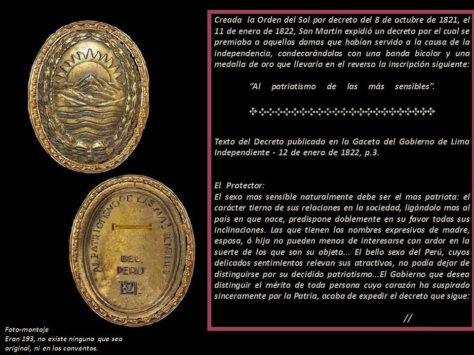 Decreto del 8 de octubre de 1821-- Orden del Sol Decreto extinguida la Orden del Sol por Simón Bolívar en 1825 Orden del Sol 1821- 1825 grado Beneméri