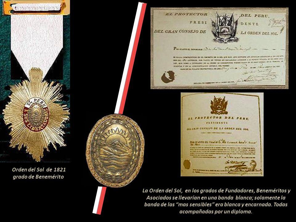 He acordado y decreto: Art.1. Las patriotas que mas se hayan distinguido por su adhesión á la causa de la independencia del Perú usaran el distintivo