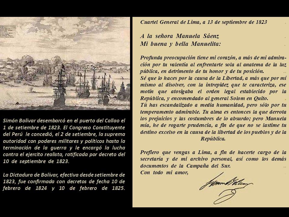 ...me consta que la niña Doña Manuela Sáenz es hija de Simón Sáenz Vergara, regidor que fue de este ilustre Ayuntamiento y de Doña Joaquina Ayspuru, y
