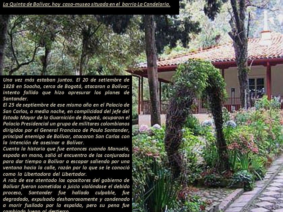 Manuela es expulsada de Lima. -. El 19 noviembre de 1826 A. J. de Sucre firmó la Constitución de el Alto Perú, creando el nuevo Estado de Bolivia. Los