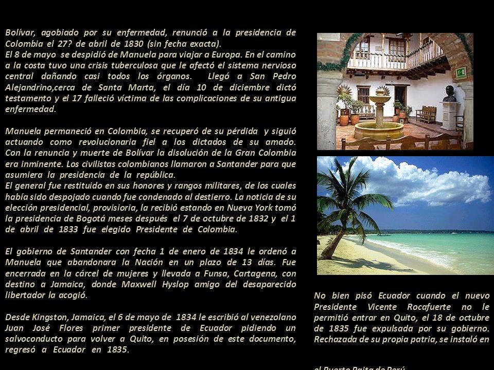 Manuela recibió una carta de su amigo Perou de Lacroix Cartagena, Diciembre 18 de 1830.. A mi señora doña Manuela Sáenz.. Mi respetada y desgraciada s