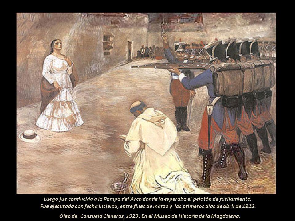 Acusada de alta traición, María fue apresada y presentada ante el General realista Carratalá, acuartelado en Huamanga, ya liberada., Ante su mutismo y