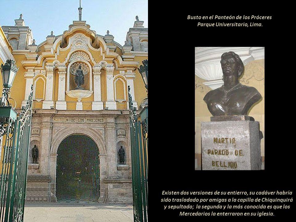 Luego fue conducida a la Pampa del Arco donde la esperaba el pelotón de fusilamiento. Óleo de Consuelo Cisneros, 1929. En el Museo de Historia de la M