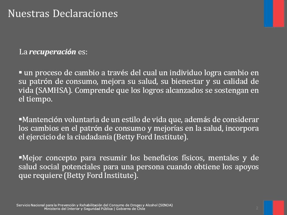 Servicio Nacional para la Prevención y Rehabilitación del Consumo de Drogas y Alcohol (SENDA) Ministerio del Interior y Seguridad Pública   Gobierno de Chile 23 CAPITAL DE RECUPERACIÓN Redes de protección Social CONTEXT O DE EXCLUSIÓ N ESTRATEGI AS Y RESULTAD OS EN PREVENCIÓ N ESTADO TRANSFORMADOR DE CAMBIOS EN EL CONTEXTO ESTRATEGIAS Y RESULTADOS EN TRATAMIENTO EXPECTATIVAS DEL USUARIO/ itinerarios Personalizados ESTRATEGIAS Y PROGRAMAS DE INTEGRACIÓN SOCIAL Capital Físico Capital Humano Capital Social Capital Cultural Cultura de la adicci ó n Valores Creencias Normas culturales Redes Sociales Relaciones familiares Apoyo Social Habilidades sociales Educaci ó n Habilidades de empleabilidad Vivienda Asistencia Financiera