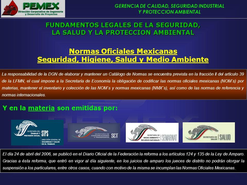 GERENCIA DE CALIDAD, SEGURIDAD INDUSTRIAL Y PROTECCION AMBIENTAL Normas Oficiales Mexicanas Seguridad, Higiene, Salud y Medio Ambiente El día 24 de ab