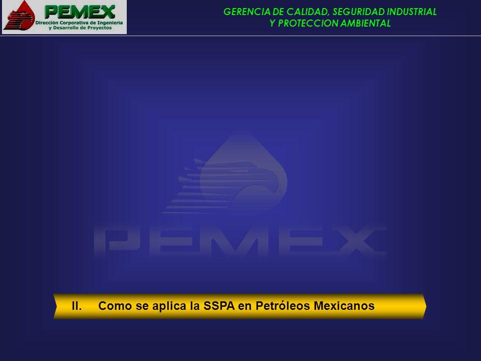 GERENCIA DE CALIDAD, SEGURIDAD INDUSTRIAL Y PROTECCION AMBIENTAL II. Como se aplica la SSPA en Petróleos Mexicanos