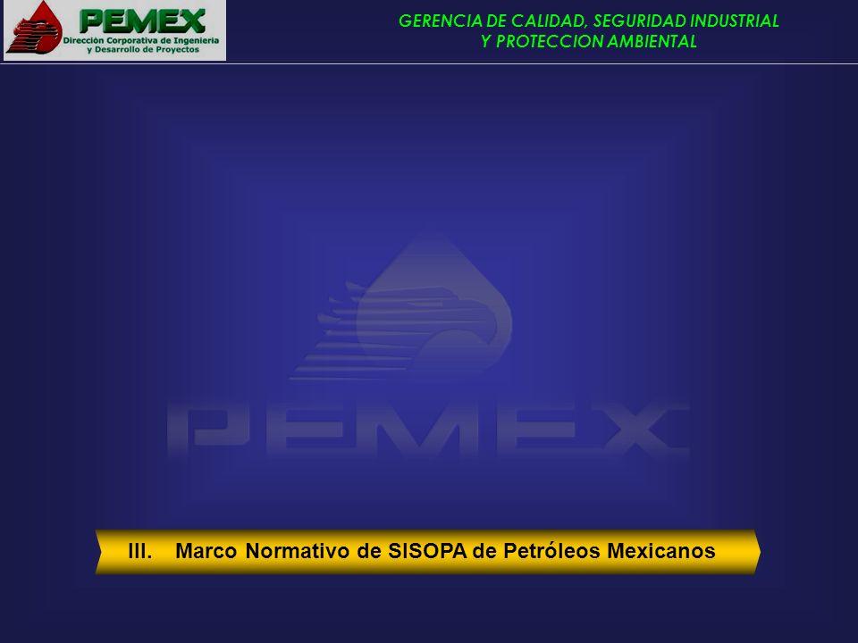 GERENCIA DE CALIDAD, SEGURIDAD INDUSTRIAL Y PROTECCION AMBIENTAL III. Marco Normativo de SISOPA de Petróleos Mexicanos
