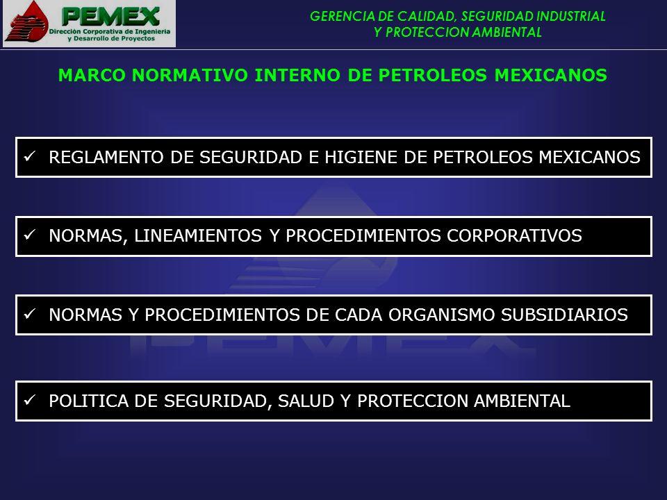 GERENCIA DE CALIDAD, SEGURIDAD INDUSTRIAL Y PROTECCION AMBIENTAL REGLAMENTO DE SEGURIDAD E HIGIENE DE PETROLEOS MEXICANOS MARCO NORMATIVO INTERNO DE P
