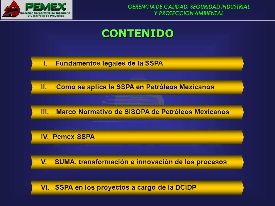 GERENCIA DE CALIDAD, SEGURIDAD INDUSTRIAL Y PROTECCION AMBIENTAL II. Como se aplica la SSPA en Petróleos Mexicanos I. Fundamentos legales de la SSPA V