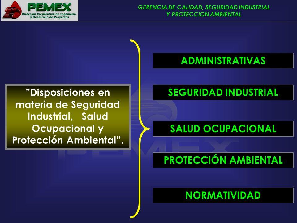 GERENCIA DE CALIDAD, SEGURIDAD INDUSTRIAL Y PROTECCION AMBIENTAL Disposiciones en materia de Seguridad Industrial, Salud Ocupacional y Protección Ambi