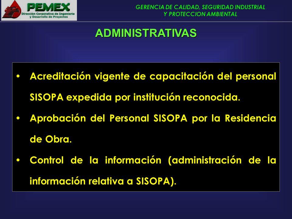 GERENCIA DE CALIDAD, SEGURIDAD INDUSTRIAL Y PROTECCION AMBIENTAL Acreditación vigente de capacitación del personal SISOPA expedida por institución rec