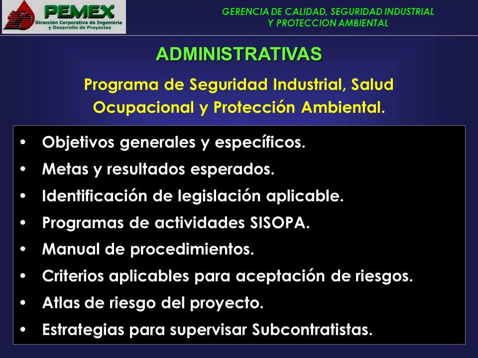 GERENCIA DE CALIDAD, SEGURIDAD INDUSTRIAL Y PROTECCION AMBIENTAL Programa de Seguridad Industrial, Salud Ocupacional y Protección Ambiental. Objetivos
